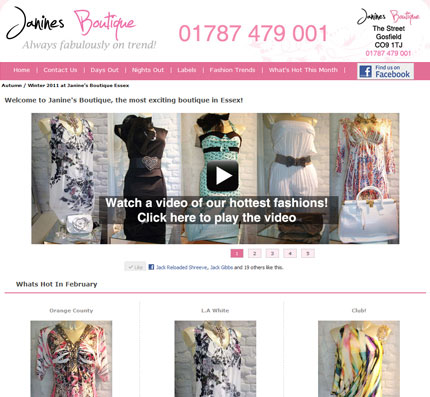 Janines Boutique Website Design Hedingham